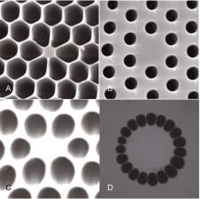 four photonic crystal fiber structure types shown