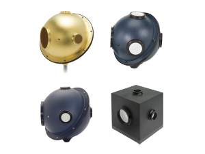 collection of intergating sphere optical sensors.  gold sphere, 3-port sphere, and 4-port sphere shown