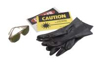 ultraviolet (uv) lab safety equipment including gloves, glasses and warning signs