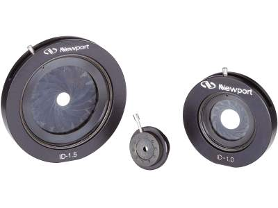 Collection of ID series iris diaphragms with three iris diaphragm sizes shown.