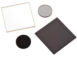 absorptive neutral density filters with square nd filter and round nd filter shown