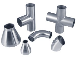 collection of stainless steel butt weld vacuum fittings and components
