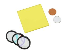 collection of optical filters of different types and sizes